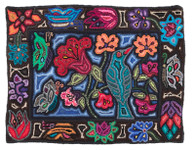 "Handmade Hooked  Floral Rug of Recycled Clothing Guatemala 14 (24"" x 36"")"