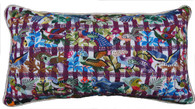 "Handwoven and Hand Embroidered Bird Pillow Guatemala 9 11"" x 20"""
