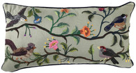 "Handwoven Embroidered  Sage Bird Pillow Guatemala  (11"" x 22"")"