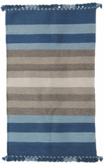 "Handwoven and Natural Dyed Woolen Rug India (36"" x 62"")"