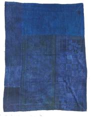 """Indigo Vat Dyed Kantha Quilt Blanket Vintage Sari 5 (70"""" x 92"""")"""