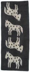 "Handmade Wool Felt Horse Runner Afghanistan Charcoal (30"" x 72"")"