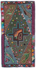 "Handmade Hooked Rug of Recycled Clothing Guatemala (24"" x 48"")"