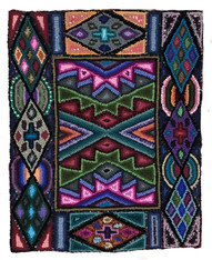 "Handmade Hooked Rug of Recycled Clothing Guatemala 6 (19"" x 23"")"
