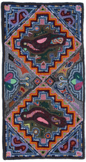 "Handmade Hooked Rug of Recycled Clothing Guatemala 4 (24"" x 48"")"