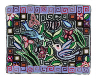 "Handmade Hooked Rug  Two Birds of Recycled Clothing Guatemala 9 (18"" x 24"")"