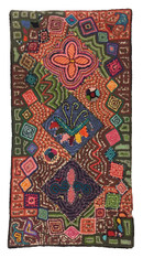 "Handmade Hooked Rug by Hilda of Recycled Clothing Guatemala (24"" x 48"")"