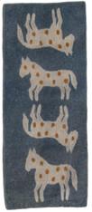 """Handmade Wool Felt Horse Runner Afghanistan Slate Blue (30"""" x 72"""")"""