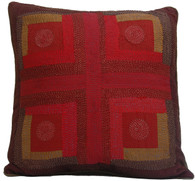 "Hand Quilted Patchwork Silk Pillow India (18"" x 18"")"