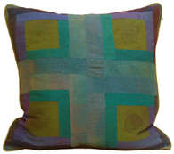 "Hand Quilted Patchwork Greens Silk Pillow India (20"" x 20"")"