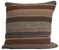 "Handwoven Traditional Woolen  Browns Pillow Peru (18"" x 18"")"