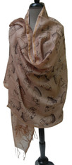 "Block Printed Posing Yoga Hands Silk Shawl on Pinkish Tan India (35"" x 90"")"