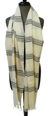 "Handwoven Organic Cotton Scarf India (23"" x 80"")"