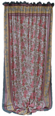 "Block printed Cotton Curtains Peach, Rose w Yellow Border, India (44"" x 105""each)"