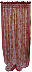 "Block printed Cotton Curtains Red on White India (44"" x 105""each)"