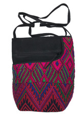 Handwoven Textile Pinks and Leather Cross Shoulder Purse Guatemala