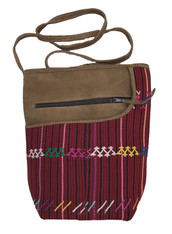 Handwoven Cotton and Suede Cross Shoulder Purse Guatemala