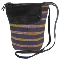Handwoven Striped Textile and Leather Cross Shoulder Purse Guatemala