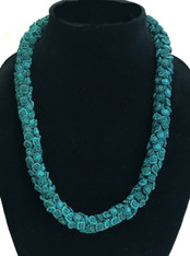 """Hand Knotted Button Bead Teal Necklace Morocco (10"""" drop)"""