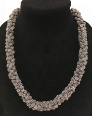 """Hand Knotted Button  Bead Necklace Morocco (10"""" drop)"""