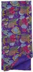 "Summertime Block Printed Queen Purple Stitched Coverlet (90"" x 106"")"