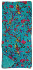 "Summertime Block Printed Queen Green Stitched Coverlet (90"" x 106"")"