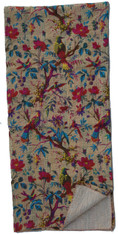 "Block Printed Queen Birds and Floral on Tan Kantha India (92"" x 105"")"