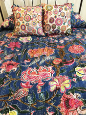 "Summertime Block Printed Queen Floral on Blue Stitched Coverlet (85"" x 108"")"