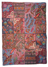 "Handmade Large Hooked Rug Recycled Materials Guatemala (60"" x 84"")"