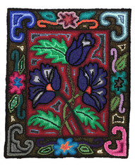 "Handmade Floral Hooked Rug of Recycled Clothing Guatemala (19"" x 23"")"