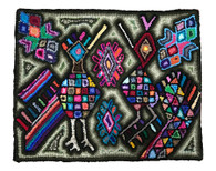 "Handmade Hooked Rug of Recycled Clothing Guatemala (18"" x 22"")"