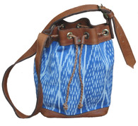 Handwoven Light Indigo Ikat and Leather Bucket Bag Purse Guatemala