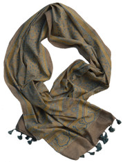 "Block Printed Natural Dyed Cotton Scarf Shawl India (22"" x 80"")"