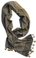 "Block Printed Natural Dyed Cotton Scarf Shawl India 2 (22"" x 80"")"