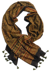 "Block Printed Natural Dyed Cotton Scarf Shawl India 25 (22"" x 80"")"
