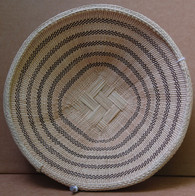 "Hand Woven Natural Fiber Basket Zimbabwe (10.25"" across x 2.5"" deep.)"