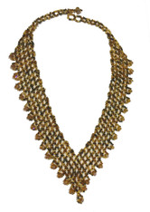 Handmade Beaded V Golden Necklace Guatemala
