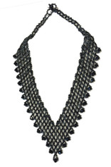 Handmade Beaded V Black Necklace Guatemala