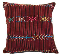 "Handwoven Traditional Maya Brocade Pillow Guatemala 18""x18"""