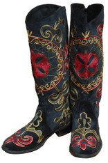 Embroidered Women's Velvet Boots 1 Kyrgyzstan Black