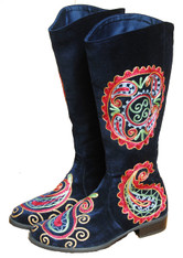 Embroidered Women's Velvet Boots Kyrgyzstan Indigo Blue