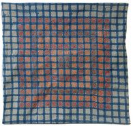 "Handmade Block Printed and Embroidered Pillow Cover India (16"" x 16"")"