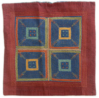 "Handmade Embroidered and Block Printed Pillow Cover India (16"" x 16"")"