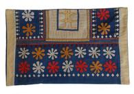 "Handmade Applique and Block Printed Pillow Cover India (11"" x 20"")"