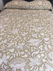 "Handwoven Cotton with Wool Crewel Hand Embroidery Neutral Color Coverlet Bedspread India (88"" x 104"")"