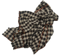 """Handwoven Wool Check Blanket with Hand Embroidery Guatemala (55"""" x 77"""")"""