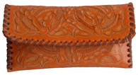 "Handmade Tooled Leather Orange Clutch Purse Guatemala  (5"" x 10"")"
