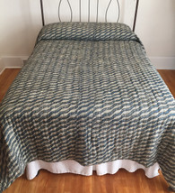 "Handmade Block Printed Reversible Natural Dyed Queen Quilt India (90"" x 108"")"