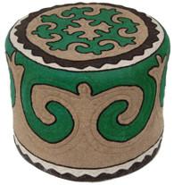 "Handmade Felt Wool Ottoman Kyrgyzstan (17"" x 21"")"