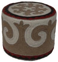 "Handmade Felt Wool Round Ottoman Kyrgyzstan (17"" x 21"")"
